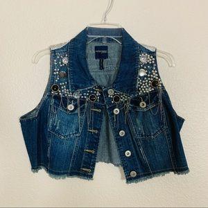 Custom Cropped Denim Jean Vest